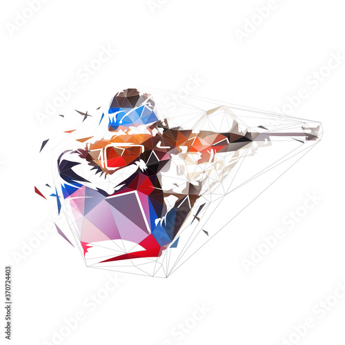 Fotografering Biathlon racer shooting at target, low polygonal isolated vector illustration, g