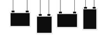 Set Of Blank Black Photos Hanging From Laces And Clips. Empty Space For Text, Advertisements And Photos.