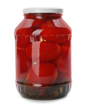 Glass Jar With Pickled Tomatoe...