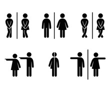 Set Of WC Sign Icon Vector Illustration On The White Background. Vector Man & Woman Icons. Funny And Unisex Toilet Symbol