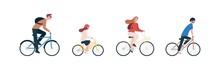 Happy Family Riding Bike, Bicy...