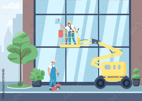 Fotografija Urban cleaning flat color vector illustration