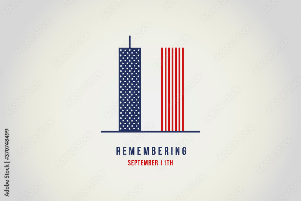Fototapeta Remember 9 11. Illustration of the Twin towers representing the number eleven.