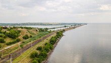 Aerial View Of Train Railway Over The River In Ukraine Top View Of Railroad From Drone.