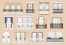 Windows And Balconies Vector Exterior And Interior Architecture Decoration. Vintage Facade Building Wall With Balconied Railing Windows And Potted Plants Retro Decor, Cartoon Classic Construction
