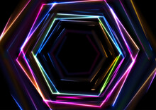 Colorful Glowing Neon Tech Hex...