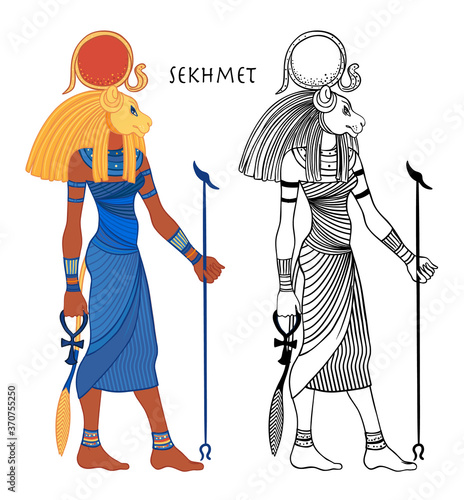 Cuadros en Lienzo Sekhmet, the goddess of the sun, fire plagues, healing and war In Egyptian mythology