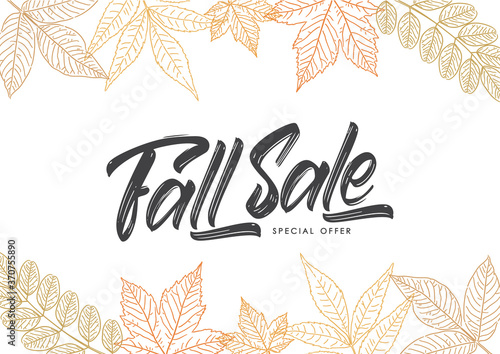Obraz Vector Handwritten calligraphic brush lettering of Fall Sale on foliage background. Discount special offer. - fototapety do salonu