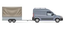 Van Towing A Trailer Tent Vect...