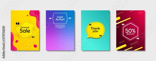Fototapeta Super action, 50% discount and christmas sale. Dynamic cover design. Creative fluid background. Thank you phrase. Sale shopping text. Poster cover template with chat bubble. Vector obraz