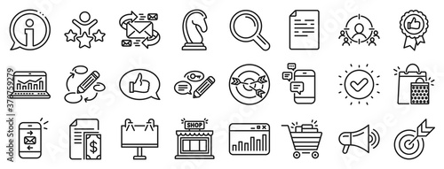 Fotografía Set of Strategy target, Feedback, Advertisement campaign icons