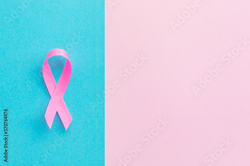 Obraz na płótnie Breast Cancer concept : Top view pink ribbon symbol of breast cancer campaign on