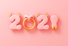 2021 With Numbers As Bull Horns, Hoof And Nose Ring On Pink Background. Concept Of Chinese New Year Of The Ox.