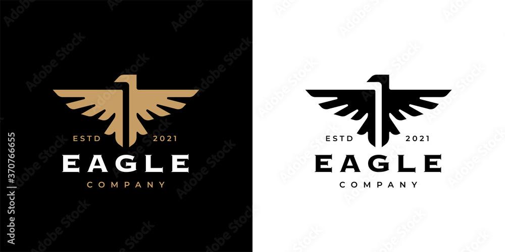 Fototapeta Eagle crest logo icon template design. Concept gold bird insignia business emblem. Premium company brand identity hawk symbol. Heraldic falcon in flight badge. Vector illustration.