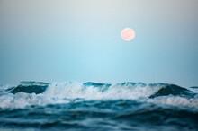 Wild Sea With Rising Full Moon...