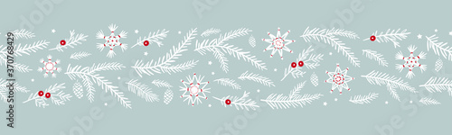 Cuadros en Lienzo Cute hand drawn horizontal seamless pattern with fir branches and hanging decora