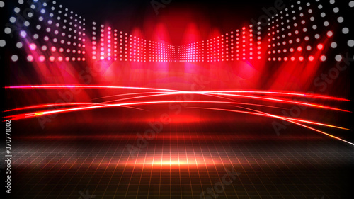 abstract futuristic background of red empty stage arena stadium spotlgiht stage Fototapet