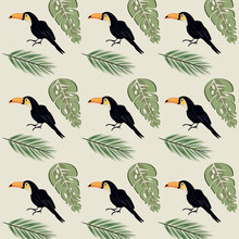 Wild Toucans Birds And Leafs P...