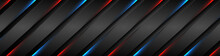 Abstract Black Stripes With Blue Red Neon Glowing Light. Vector Technology Banner Design