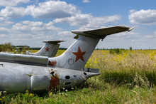 Tail Part- 8 August 2020: Old Aircraft Antonov An-2 At Abandoned Airbase Aircraft Cemetery In Vovchansk, Kharkov Region, Ukraine.