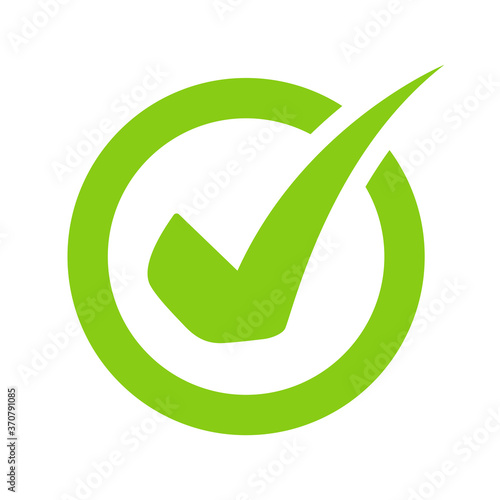 Green check mark icon vector On the circular checkbox For checking information Canvas Print