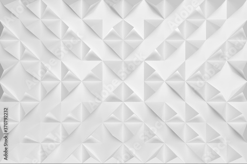 3D illustration, canvas consisting of white-gray structured arranged geometric cut-off pyramids, squeezed out of paper, turned in different directions Fototapet