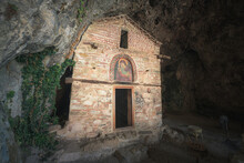 The Hermitage And The Church Of Panagia Eleousa (standing Since 1410) At Prespa Lake, Florina, Greece