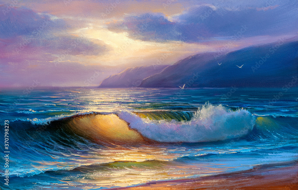 Fototapeta Sea wave on the beach at sunset time, sun rays, painting by oil on canvas.