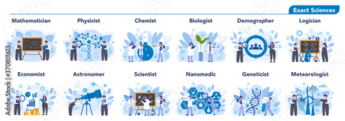 Scientist profession set illustration Fototapet