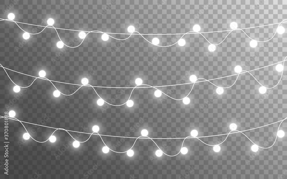 Fototapeta Christmas lights isolated on transparent backdrop. Glowing silver garland. Bright bulbs decoration. Festive shining elements. Realistic lamps for banner, poster or web. Vector illustration