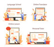 Chinese learning online service or platform set. Chinese school