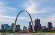 View Of St. Louis And The Historic Gateway Arch In Missouri, From Across The Mississippi River In Malcolm W. Martin Memorial Park, Illinois