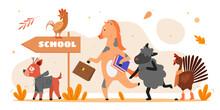 Animals Go To School Vector Il...