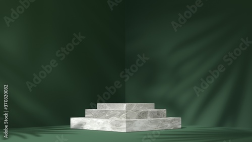 Fotomural white Marble showcase podium for product placement in green natural shadow leave