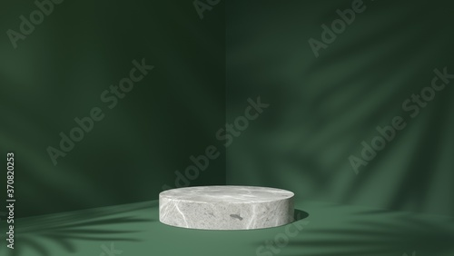 Obraz white Marble showcase podium for product placement in green natural shadow leaves background - fototapety do salonu