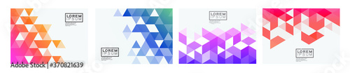 Papel de parede Set of colorful gradient triangle pattern on corner position with white space