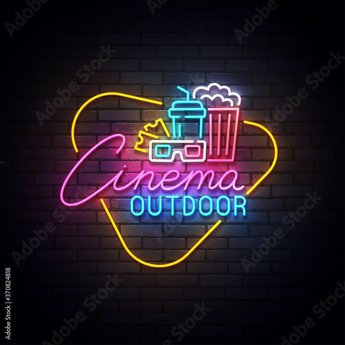 Outdoor cinema neon sign, drive-in movie theater with cars on open air parking logo neon, emblem Fotobehang