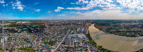 Fotografie, Obraz summer panorama of the western outskirts in Krasnodar, which is built up mainly