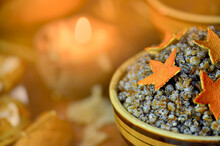 Traditional Christmas Kutya With Candied Orange In The Shape Of A Star