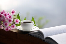 Cup Of Coffee, Book And Flower...