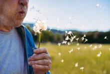 Senior Man Blowing Blowball