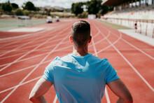 Male Athlete On Tartan Track
