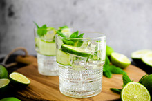 Gin Tonic With Lemon, Mint And Cucumber
