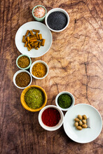 Assorted Spices On Wood