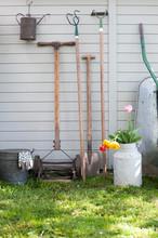 Various Gardening Tools Leanin...