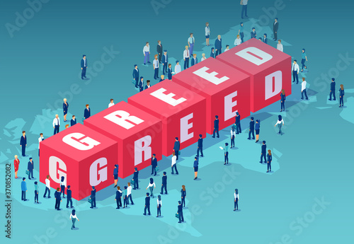 Obraz Vector of corporate people standing around word greed - fototapety do salonu