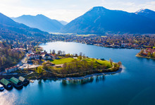 Germany, Bavaria, Rottach-Egern, Drone View Of Town On Shore Of Tegernsee