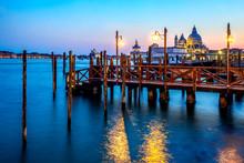 Italy, Veneto, Venice, Jetty With Santa Maria Della Salute In Background