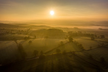 Sunrise Over Farmland Near The Yorkshire Dales Village Of Eshton A Small Village And Civil Parish In The Craven District Of North Yorkshire, England. At The 2011 Census The Population Was Less Than 100 And Is Included In The Civil Parish Of Flasby With Winterburn. In 2015, North Yorkshire County Council Estimated The Population To Be 70
