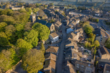 Aerial Shot Of Haworth Main Street, Near Keighley, West Yorkshire Home Of The Bronte Sisters